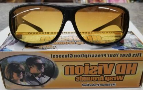 HD Night Vision Driving Wraparound Sunglasses Fits Over Glas