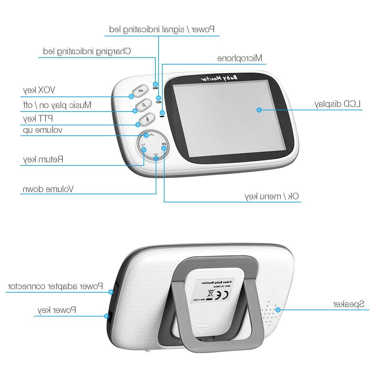 "Video Baby Monitor 2-Way Talk 3.2"" Wireless LCD Play"