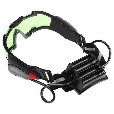 Adjustable LED Night Vision Goggles Glasses W/Flip Lights Eye Lens