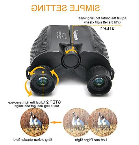 Binoculars - Lightweight Zoom Kids Women Hunting,Travel,Birding, Concert,Waterproof Weak Vision