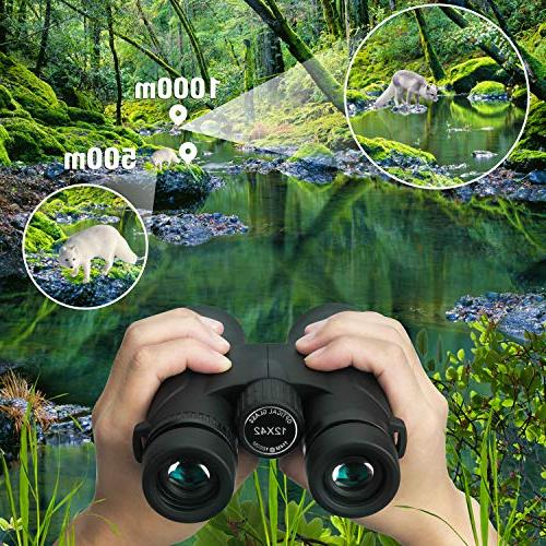 Binoteck 12x42 Adults Low Vision for Bird-Watching Travel Hunting Concerts BAK4 Prism FMC Lens with Bag
