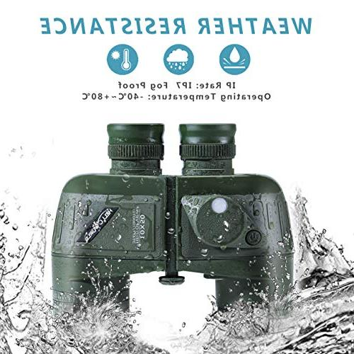 World Marine Military Binoculars Night Vision Compass Waterproof BAK4 for Adults for Floating Hunting with Carry