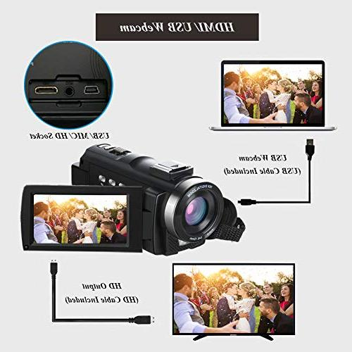 Video Camcorder Ultra VideoSky Vlogging Camera Touch Screen IR Vision Digital WiFi Recorder with Angle Lens, Control, Hood