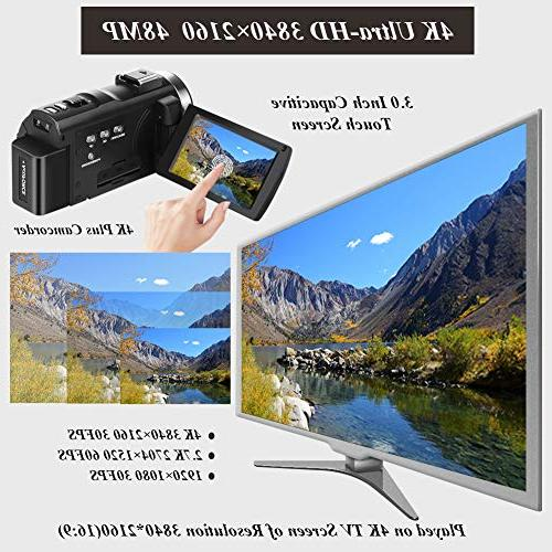 """Video Ultra Vlogging Camera 3.0"""" Touch Screen IR Vision 16X WiFi with Wide Angle Microphone, Remote Control, Lens Hood"""