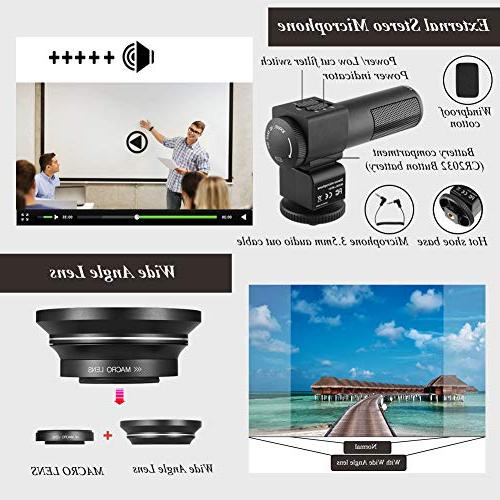 Video Camera Ultra HD Vlogging Camera Touch IR Vision Zoom WiFi with Angle Microphone, Control,