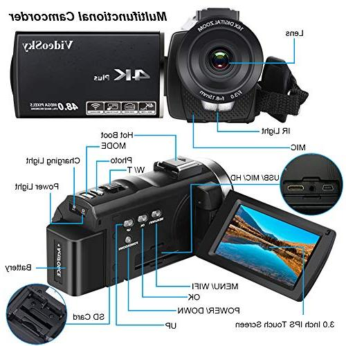 """Video Camera Ultra Vlogging Camera 3.0"""" Touch Vision 16X WiFi with Wide Angle Lens, Control,"""