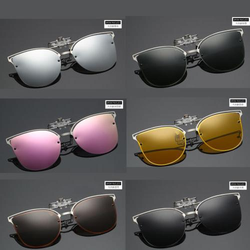 Polarized Night Vision Cat Eye Clip-on Sunglasses Flip-up Le