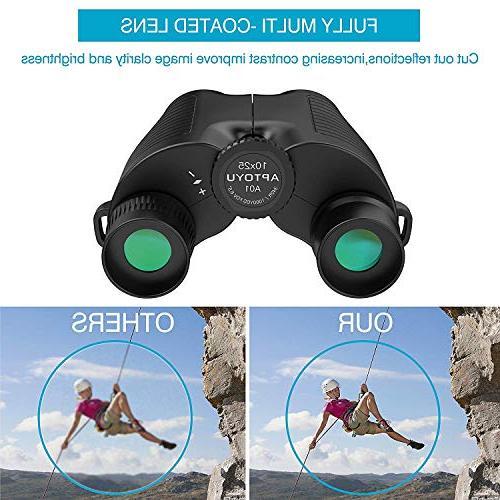 10x25 Binoculars, Eyepiece Binocular with Night Kids, Bak4 Lightweight Watching Hunting Traveling