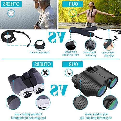 10x25 Compact Eyepiece Binocular with Night Vision Kids, Prism Bak4 HD Lightweight for Bird Watching Hunting