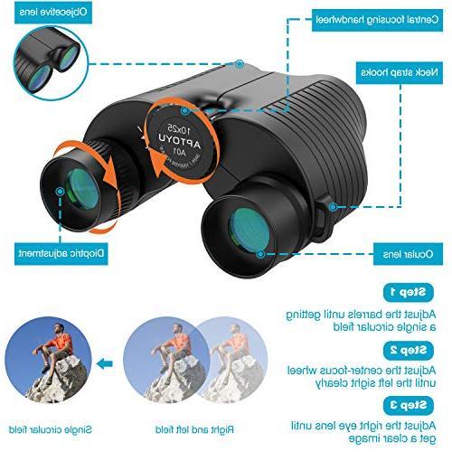 10x25 Compact Binoculars, Eyepiece Binocular with Night Vision for Kids, Prism Bak4 Lightweight Binocular Watching