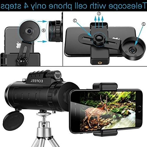 Monocular 12X50 High Power Spotting Scopes Low Night with Phone and for Cell