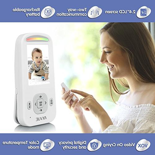 """AXVUE Video Baby Monitor 2.4"""" LCD and Detection, Saving Video On/Off, Lights."""