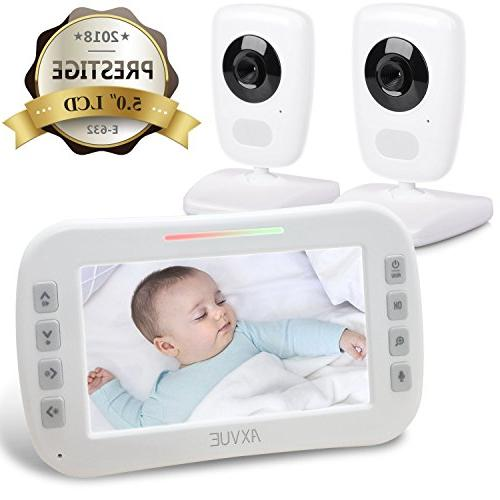 """AXVUE Baby Monitor and 5"""" Vision, Temperature Power Saving On/Off, Expandable Cam"""