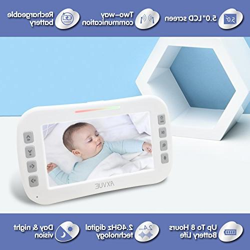 """AXVUE E632 Video Monitor with and 5"""" Night Vision, Temperature Talk, VOX, Power Saving Cam"""
