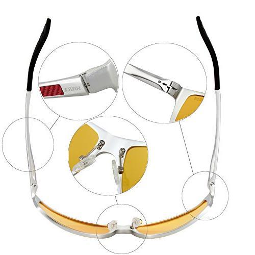 HD Glasses - Women Anti Glare Yellow Lens Sliver Frame