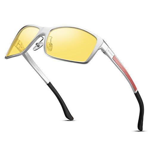 HD Night Vision Glasses - Men Women Anti Lens Sliver Frame