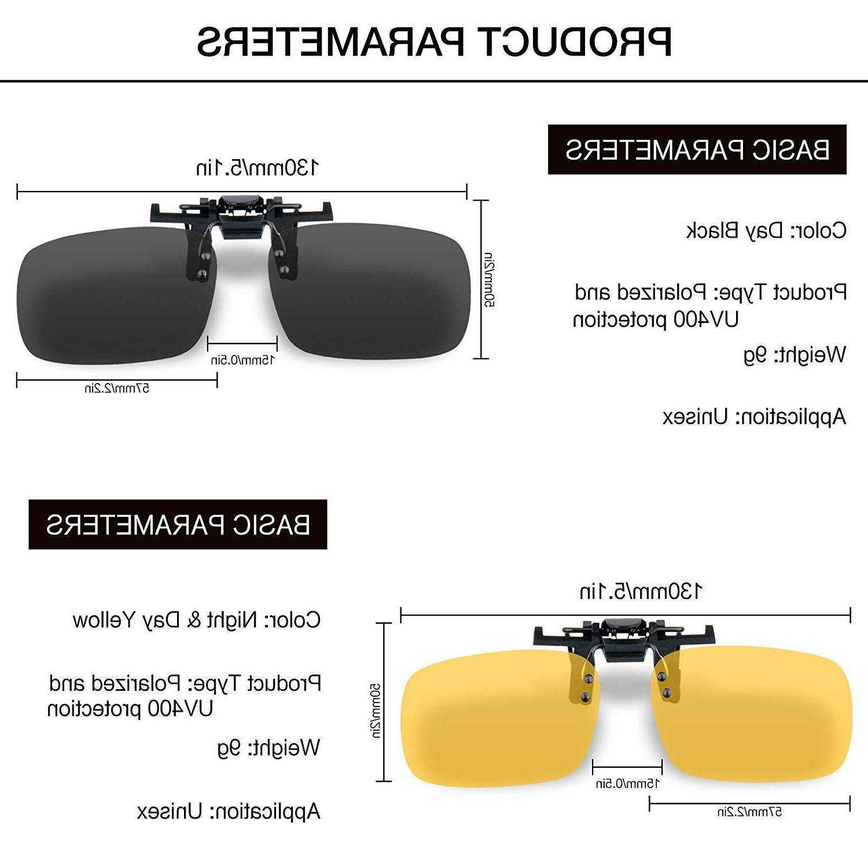 HD Night Driving Glasses Yellow Black Clip-on Durabl