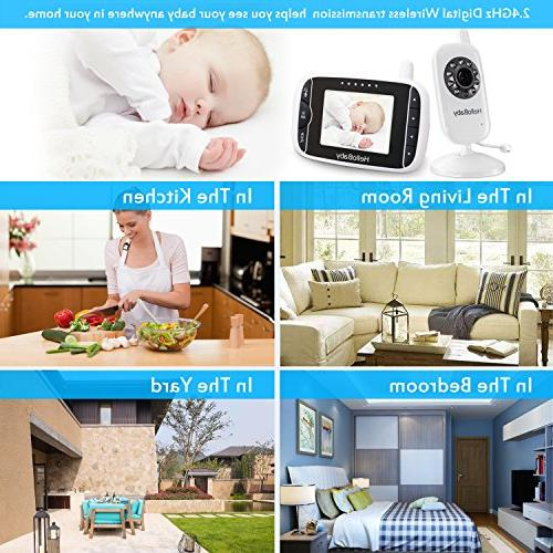 HelloBaby Video Baby with Night LCD Screen, 2 Audio Lullabies, Long Transmission Range High Capacity Battery