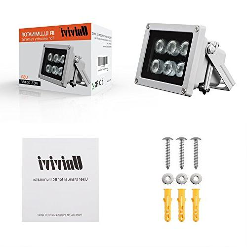 Univivi Infrared 850nm 6 LEDs Wide Illuminator for Night Vision,Waterproof LED Infrared for IP Camera,CCTV