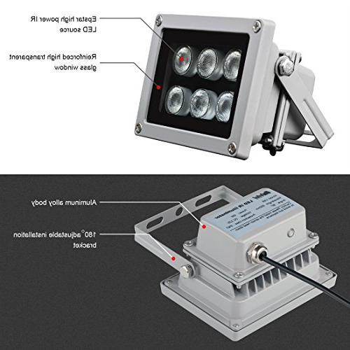 Univivi Infrared 850nm 6 90 Degree Wide Illuminator for LED Infrared Camera,CCTV Camera