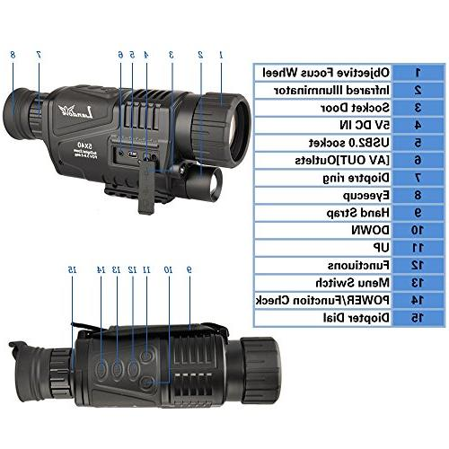 Landove 5x40mm Digital Night Monocular with LCD Camcorder Takes Photo and Video 350m/1150ft Distance for night