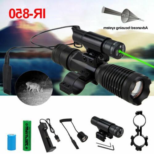 IR Night Vision Rifle Scope Red Green Dot Laser Sight 940nm 850nm LED Flashlight