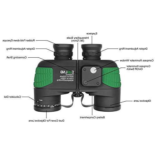 ESSLNB Binoculars with Night Vision 7X50 IPX7 Military Kids w/Bag Strap