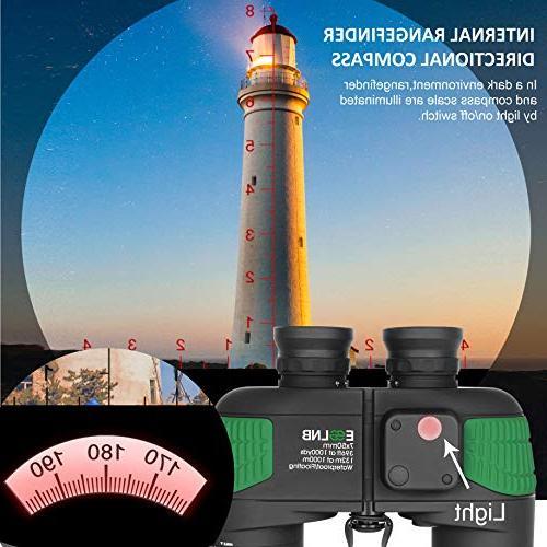 ESSLNB Binoculars with Night Compass Rangefinder 7X50 IPX7 100% Military Binoculars Kids FMC w/Bag Floating