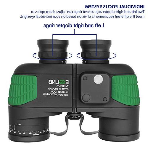 ESSLNB with Night Vision Compass 7X50 IPX7 100% Military Binoculars for Kids FMC Binoculars w/Bag