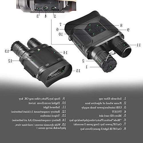 Night Vision Infrared Night Vision Hunting Binoculars Large Viewing Screen or & 640p Video