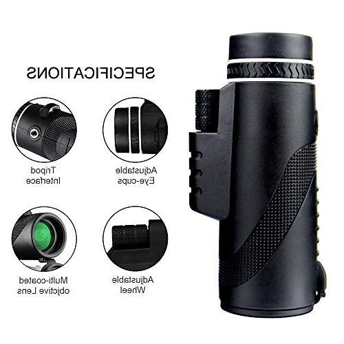 Monocular 10X42 Dual Focus Prism Tripod Night Vision, for Hunting/ Camping/ Hiking Golf/ Surveillance