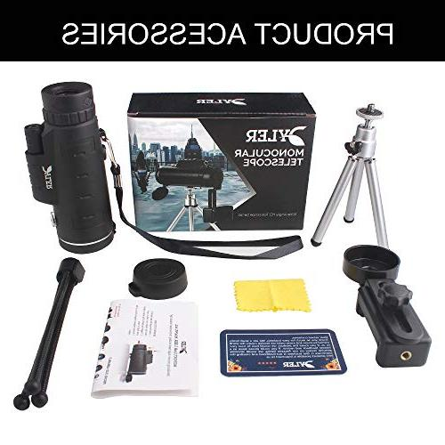 Monocular For Smartphone Dual HighPowered - Zoom Lens - Waterproof With Clip Tripod - for Bird Camping, wildlife