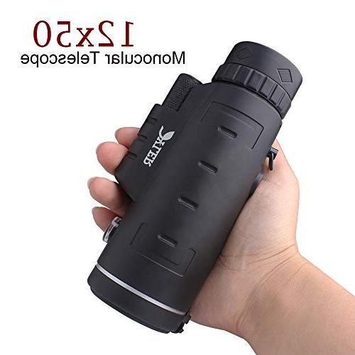Monocular Telescope, Smartphone Dual - Night Vision - Zoom Lens - Waterproof With Clip - Perfect for Camping,