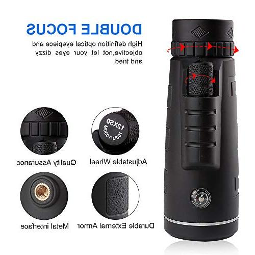 Monocular Telescope, For Dual Focus 12X50 - Night Vision - Zoom - With Clip Tripod - for Camping,