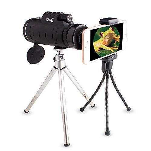 Monocular Dual Focus 12X50 HighPowered - Night - Lens - Clip Tripod Camping, wildlife