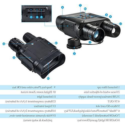 Pinty x 31 Night Vision Binoculars Digital Infrared Vision 640 x 480@30FPS, Camera Viewing 7x in Large