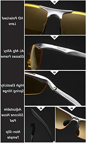 GELLVO Hd Night Glasses Driving Day and Night with Anti Glare Metal Shooting Hunting Silver