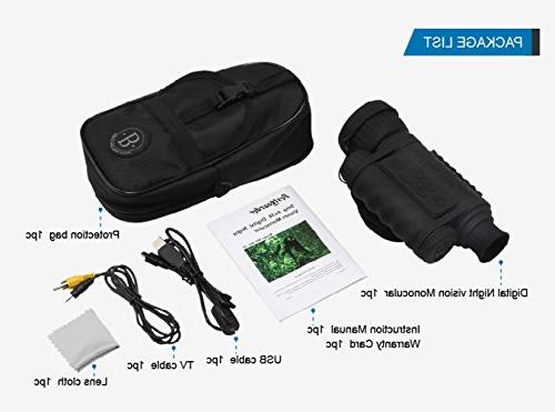 Night Vision Monocular, HD 6x50mm TFT LCD Hunting Gear Photo Video to 350m/1150ft Detection