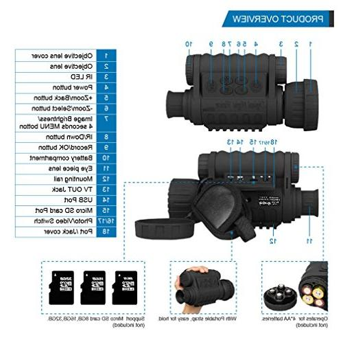 Night Monocular, Digital Infrared TFT LCD Hunting Takes to 350m/1150ft