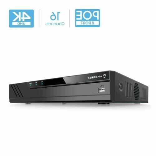 Network... Amcrest NV4116E PoE NVR 16CH 720p//1080p//3MP//4MP//5MP//6MP//8MP//4K