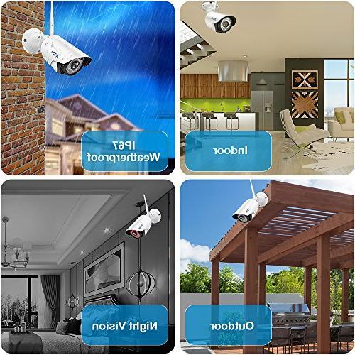 Wireless Camera A-ZONE 4CH Wireless NVR with 960P Wireless IP Night View,