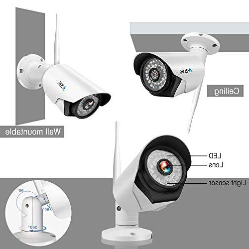 A-ZONE 4CH Wireless NVR System 4Pcs 960P Wireless Outdoor IP Cameras, Night Easy View,