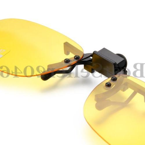 Polarized Vision Flip Up Clip On Glare Lens Sunglasses Yellow