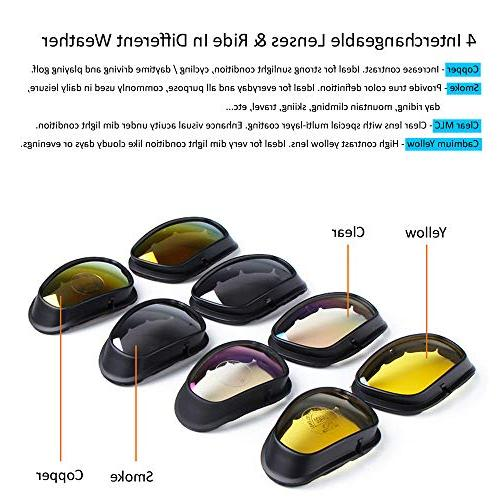 BELINOUS Polarized Glasses, Tactical Frame 4 Lens Copper for Sports Cycling Hiking Climbing Hunting Fishing