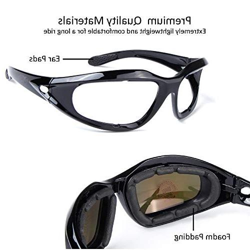 BELINOUS Motorcycle Glasses, Tactical w/Black Frame Copper Smoke Clear for Activities Cycling Skiing Hunting Driving