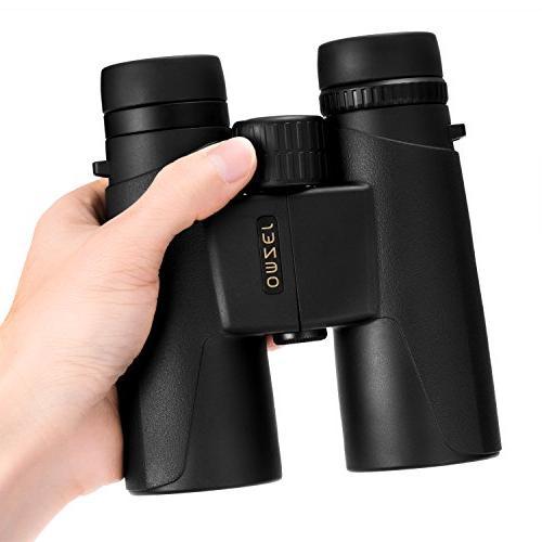OMZER 10x42 High-Powered Compact Binoculars FMC Waterproof, and Shockproof Binocular with Carrying Bird Camping, Concert