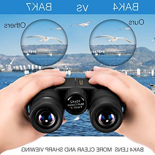 OMZER 10x42 High-Powered Compact Binoculars with Prism FMC Fogproof and Shockproof Carrying for Bird Watching,