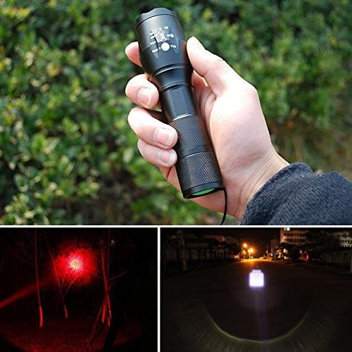 Red & Red Light Vision Flashlight Bright 1000 T6 Handheld w' Advanced Rechargeable USB