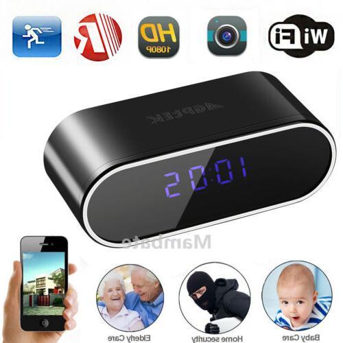 HD 1080P Wifi Spy Camera Motion Security Alarm Clock IR Cam