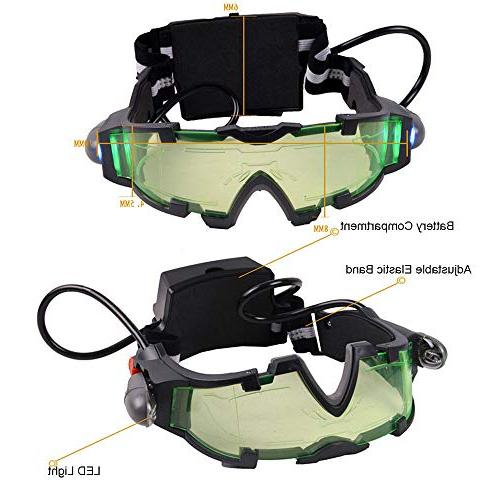 Weahre Goggles, LED Goggles with Flip-Out Lights Green Christmas Bicycling, Protect Eyes